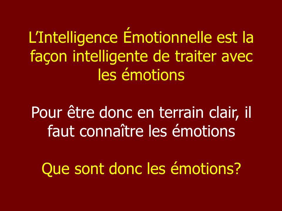 LIntelligence Émotionnelle est la façon intelligente de traiter avec les émotions Pour être donc en terrain clair, il faut connaître les émotions Que