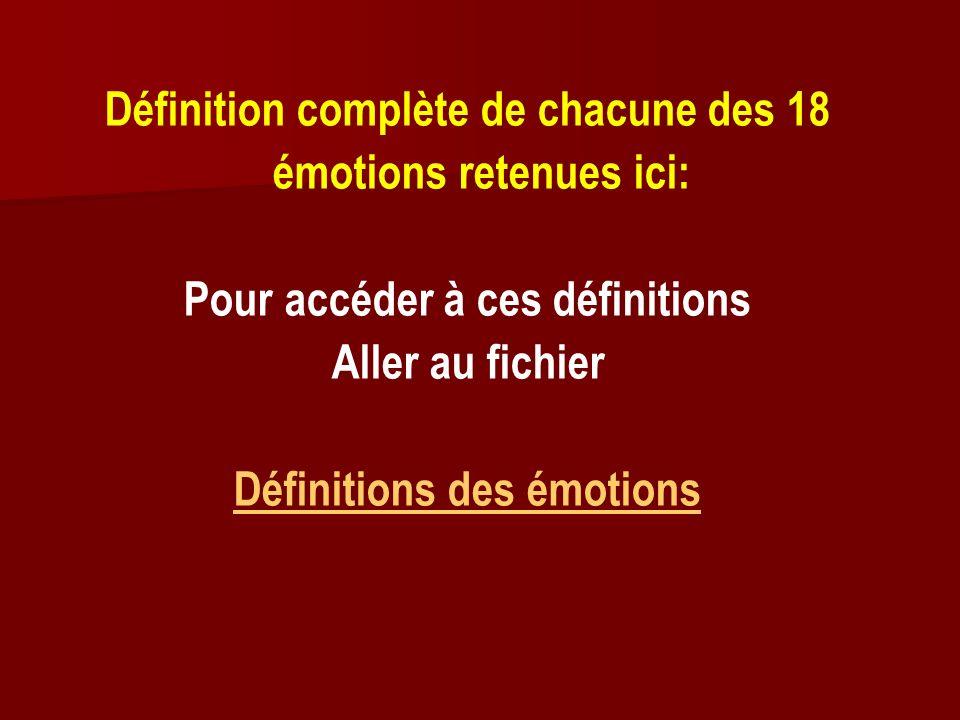 Définition complète de chacune des 18 émotions retenues ici: Pour accéder à ces définitions Aller au fichier Définitions des émotions
