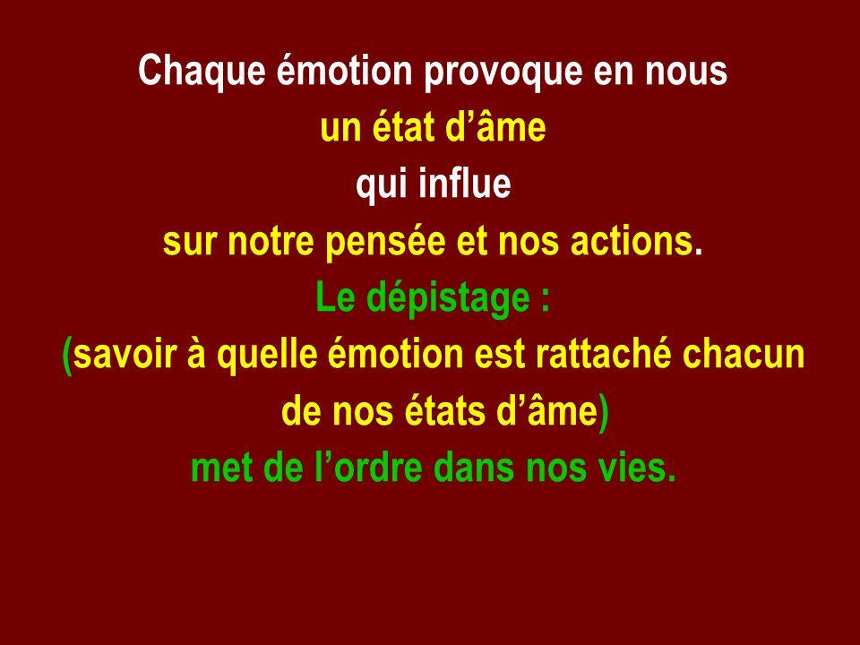 Chaque émotion provoque en nous un état dâme qui influe sur notre pensée et nos actions. Le dépistage : (savoir à quelle émotion est rattaché chacun d