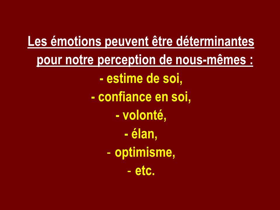 Les émotions peuvent être déterminantes pour notre perception de nous-mêmes : - estime de soi, - confiance en soi, - volonté, - élan, - optimisme, - e