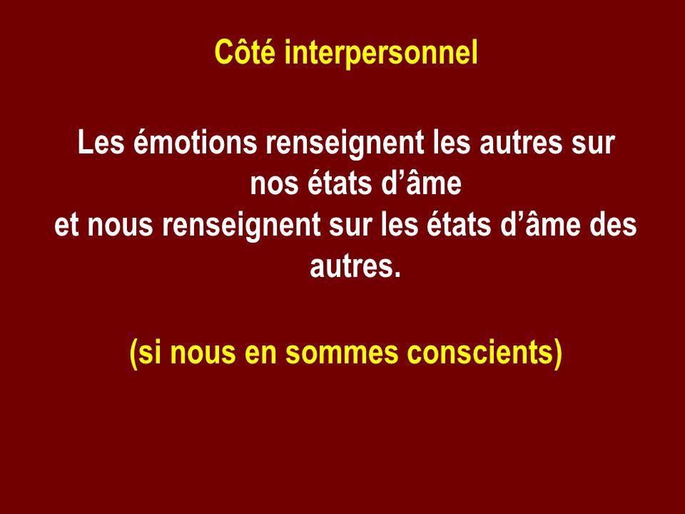Côté interpersonnel Les émotions renseignent les autres sur nos états dâme et nous renseignent sur les états dâme des autres. (si nous en sommes consc