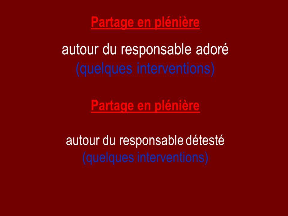 Partage en plénière autour du responsable adoré (quelques interventions) Partage en plénière autour du responsable détesté (quelques interventions)