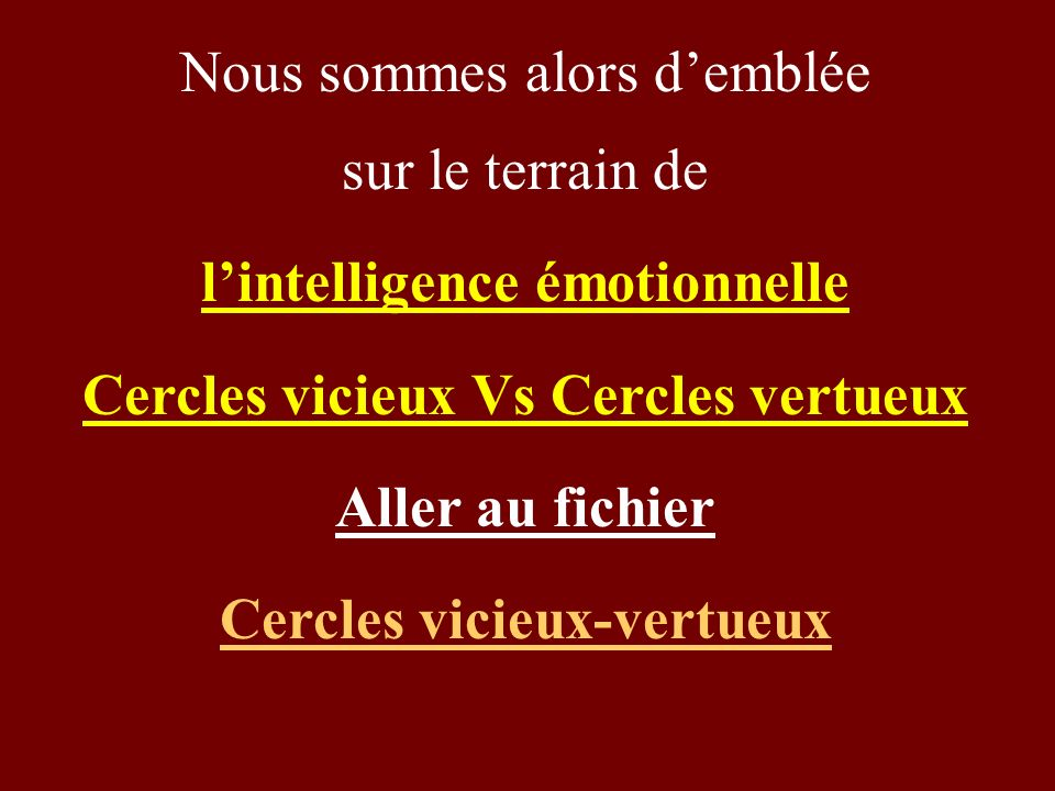 Nous sommes alors demblée sur le terrain de lintelligence émotionnelle Cercles vicieux Vs Cercles vertueux Aller au fichier Cercles vicieux-vertueux