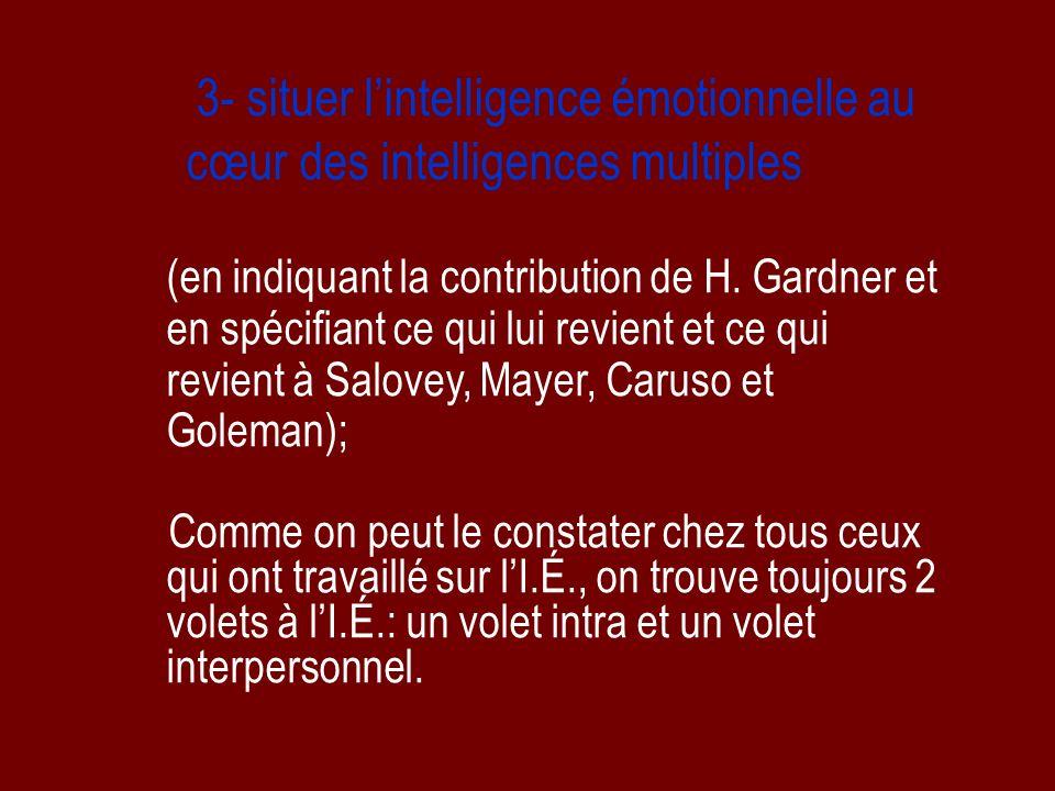 3- situer lintelligence émotionnelle au cœur des intelligences multiples (en indiquant la contribution de H. Gardner et en spécifiant ce qui lui revie