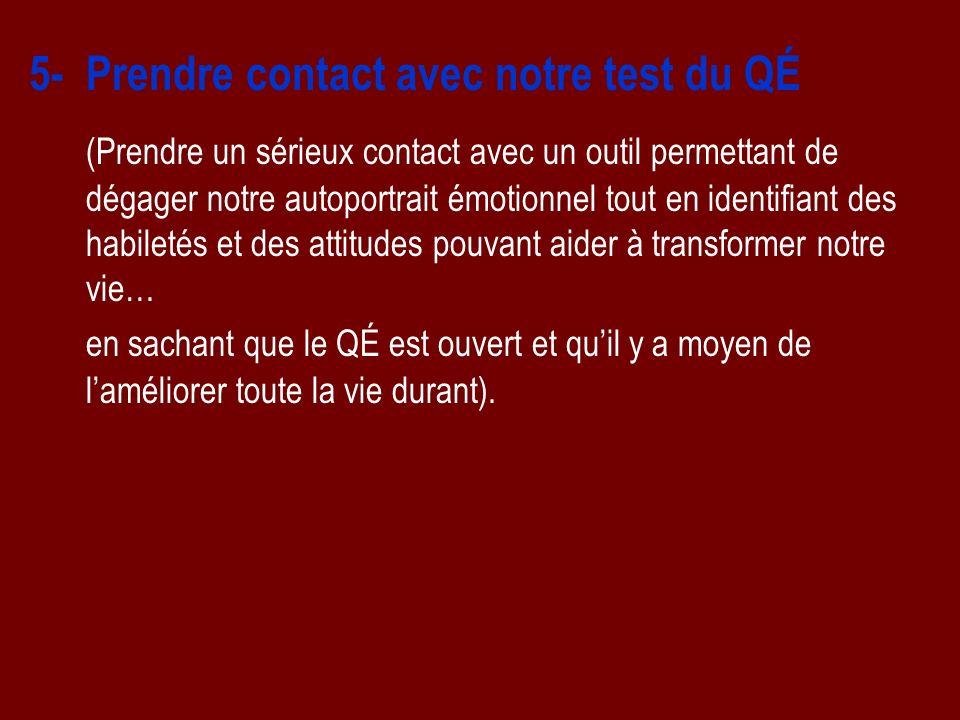 5- Prendre contact avec notre test du QÉ (Prendre un sérieux contact avec un outil permettant de dégager notre autoportrait émotionnel tout en identif