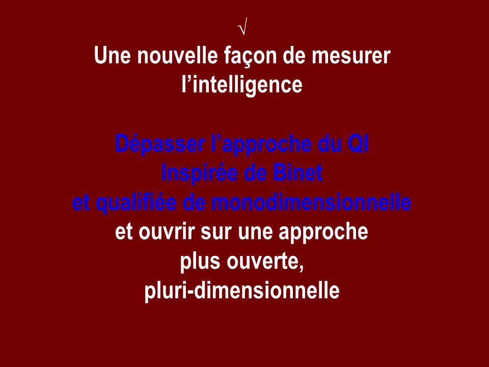 Une nouvelle façon de mesurer lintelligence Dépasser lapproche du QI Inspirée de Binet et qualifiée de monodimensionnelle et ouvrir sur une approche p