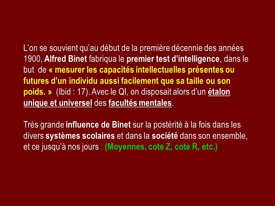 Lon se souvient quau début de la première décennie des années 1900, Alfred Binet fabriqua le premier test dintelligence, dans le but de « mesurer les