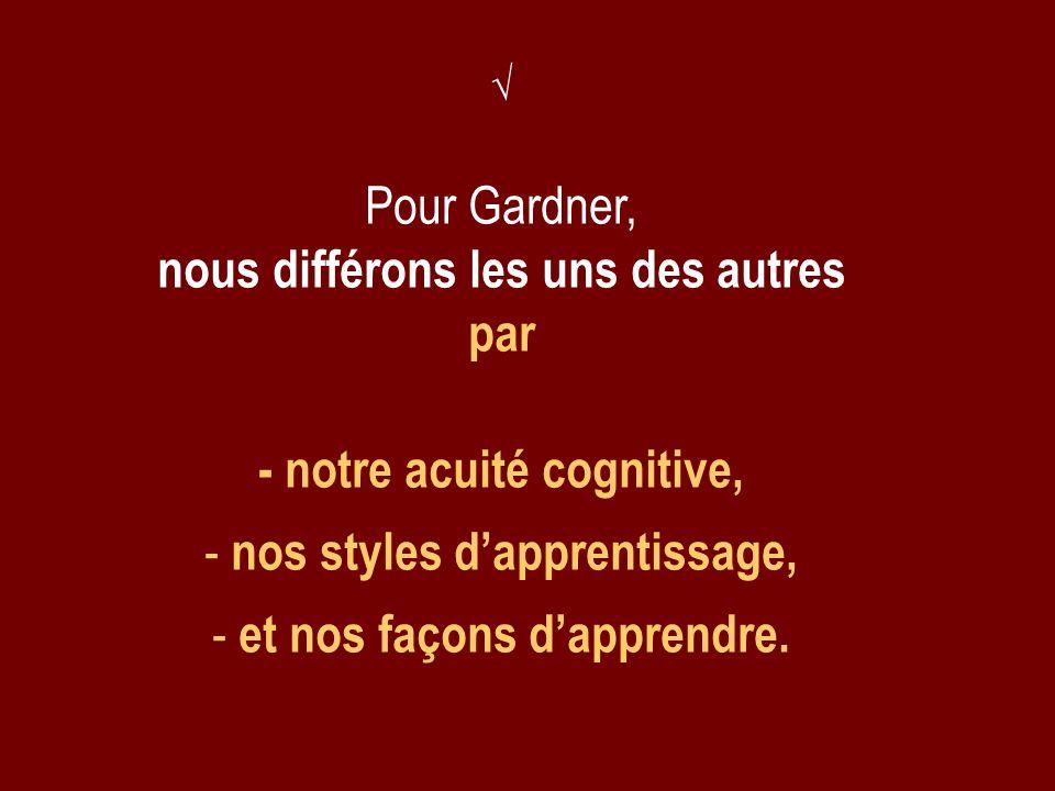 Pour Gardner, nous différons les uns des autres par - notre acuité cognitive, - nos styles dapprentissage, - et nos façons dapprendre.
