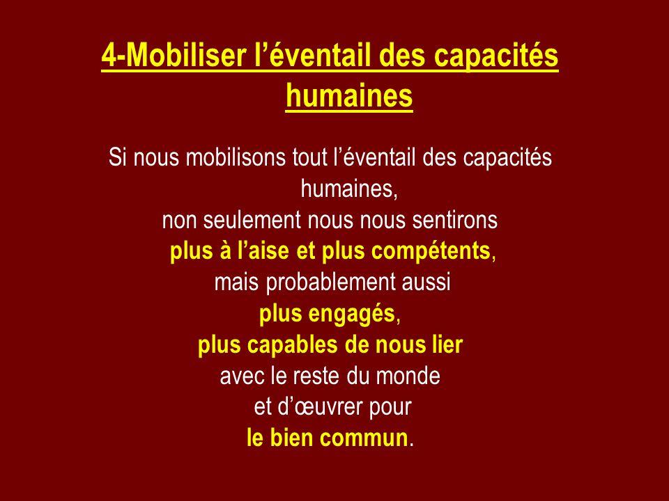 4-Mobiliser léventail des capacités humaines Si nous mobilisons tout léventail des capacités humaines, non seulement nous nous sentirons plus à laise