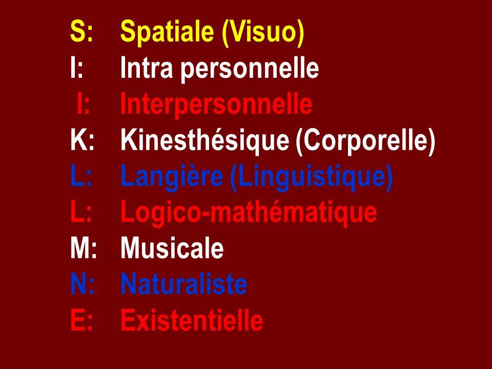 S: Spatiale (Visuo) I: Intra personnelle I: Interpersonnelle K: Kinesthésique (Corporelle) L: Langière (Linguistique) L: Logico-mathématique M: Musica