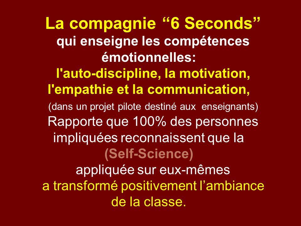 La compagnie 6 Seconds qui enseigne les compétences émotionnelles: l'auto-discipline, la motivation, l'empathie et la communication, (dans un projet p