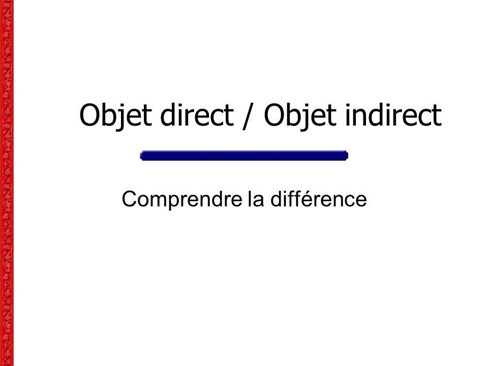 Objet direct / Objet indirect Comprendre la différence