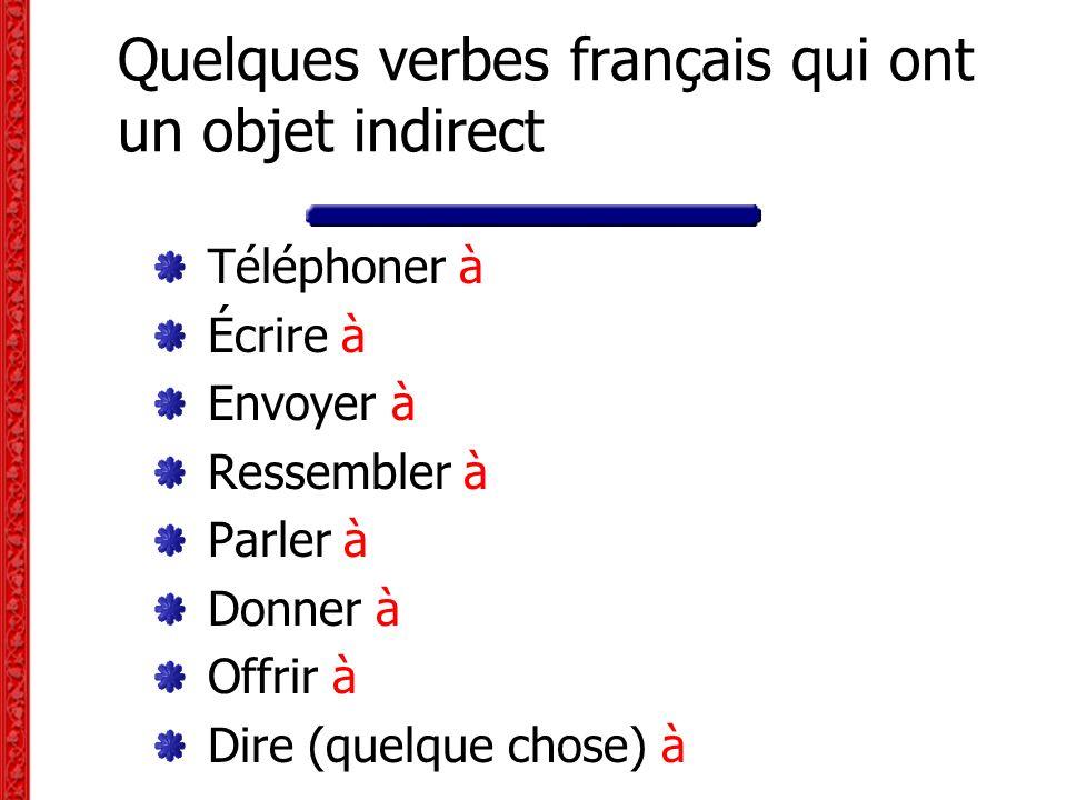 Quelques verbes français qui ont un objet indirect Téléphoner à Écrire à Envoyer à Ressembler à Parler à Donner à Offrir à Dire (quelque chose) à