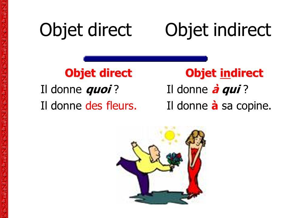 Objet direct Objet indirect Objet direct Il donne quoi ? Il donne des fleurs. Objet indirect Il donne à qui ? Il donne à sa copine.