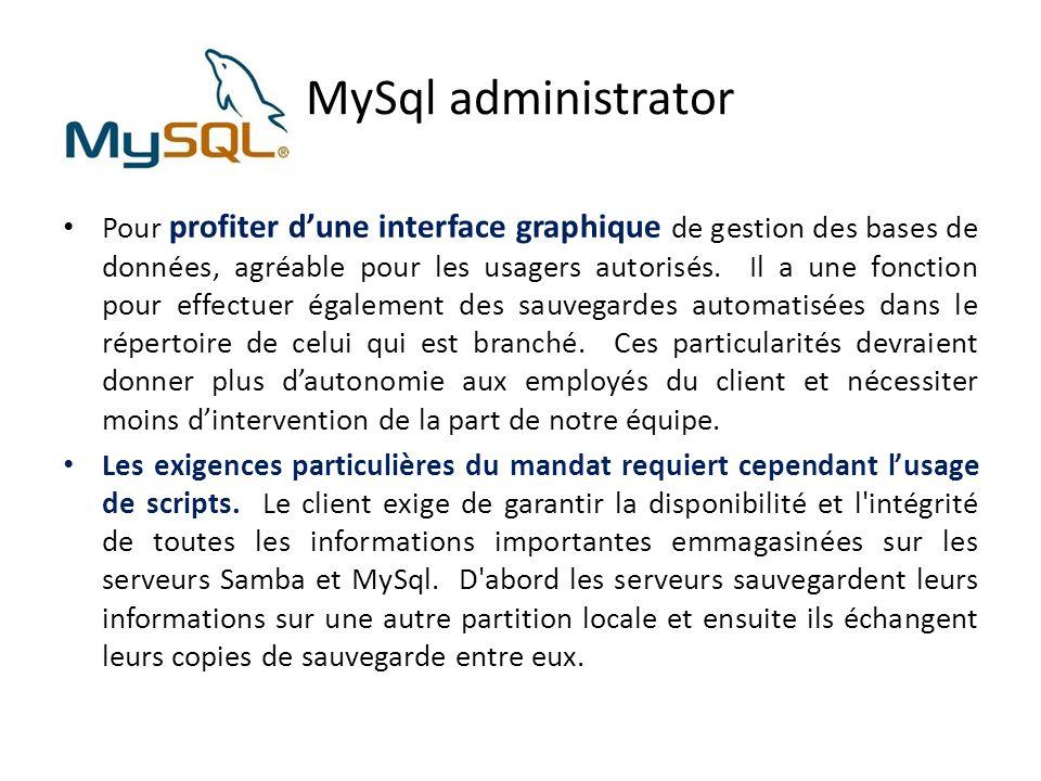 MySql administrator Pour profiter dune interface graphique de gestion des bases de données, agréable pour les usagers autorisés.