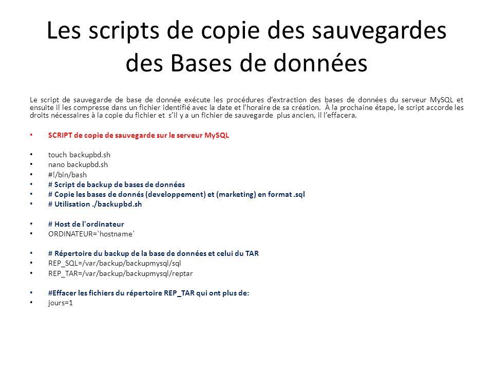 Les scripts de copie des sauvegardes des Bases de données Le script de sauvegarde de base de donnée exécute les procédures dextraction des bases de données du serveur MySQL et ensuite il les compresse dans un fichier identifié avec la date et l horaire de sa création.