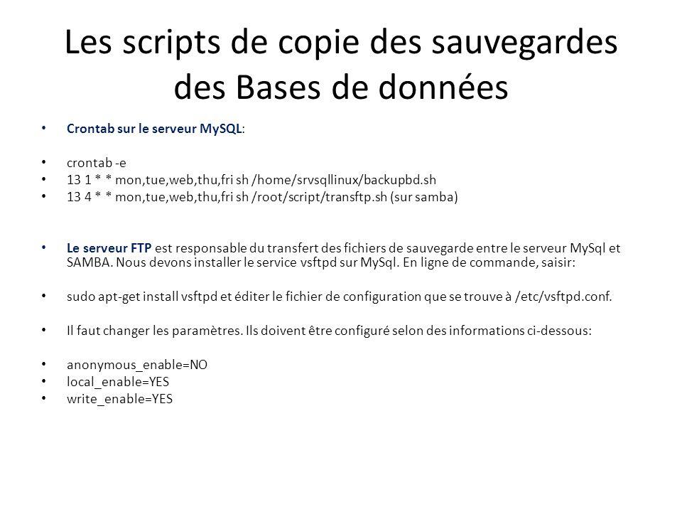 Les scripts de copie des sauvegardes des Bases de données Crontab sur le serveur MySQL: crontab -e 13 1 * * mon,tue,web,thu,fri sh /home/srvsqllinux/backupbd.sh 13 4 * * mon,tue,web,thu,fri sh /root/script/transftp.sh (sur samba) Le serveur FTP est responsable du transfert des fichiers de sauvegarde entre le serveur MySql et SAMBA.