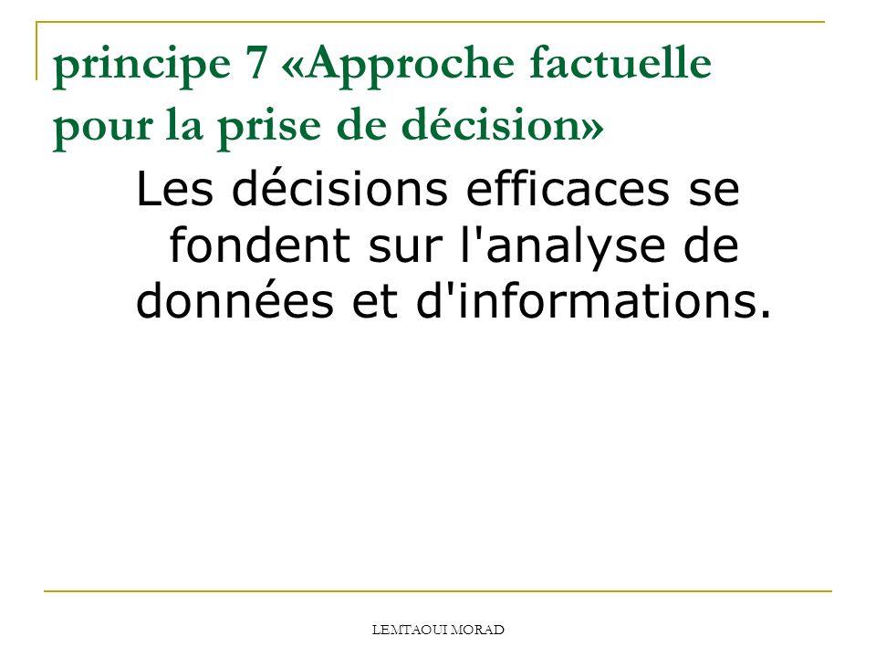 LEMTAOUI MORAD principe 7 «Approche factuelle pour la prise de décision» Les décisions efficaces se fondent sur l analyse de données et d informations.