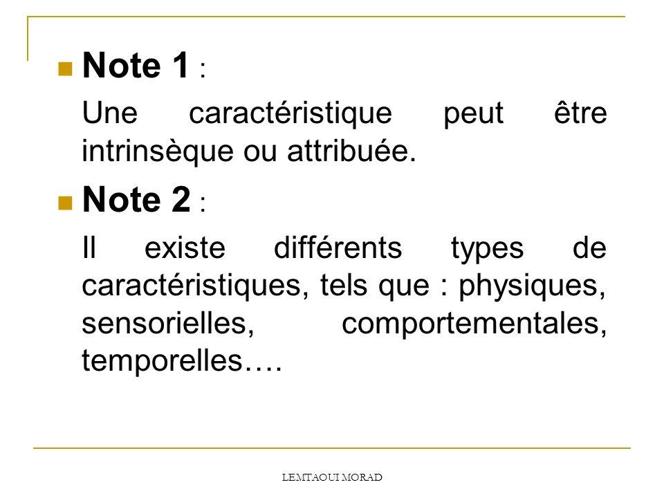 LEMTAOUI MORAD Note 1 : Une caractéristique peut être intrinsèque ou attribuée.