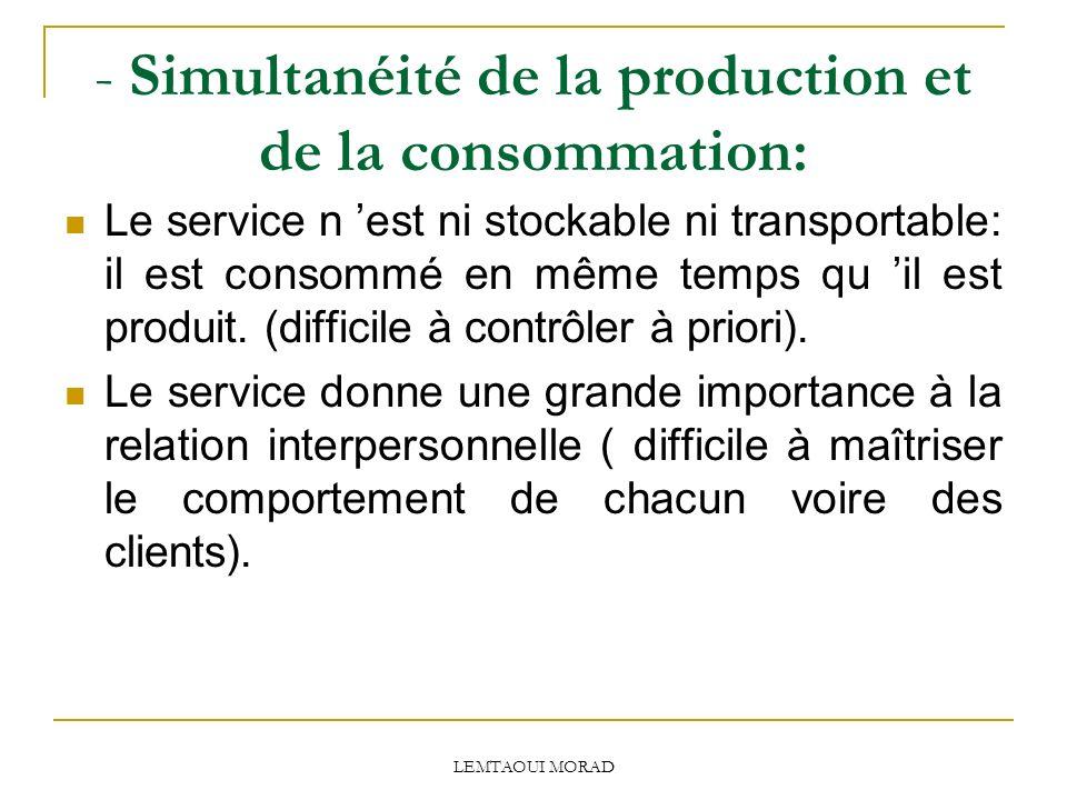 LEMTAOUI MORAD - Simultanéité de la production et de la consommation: Le service n est ni stockable ni transportable: il est consommé en même temps qu il est produit.