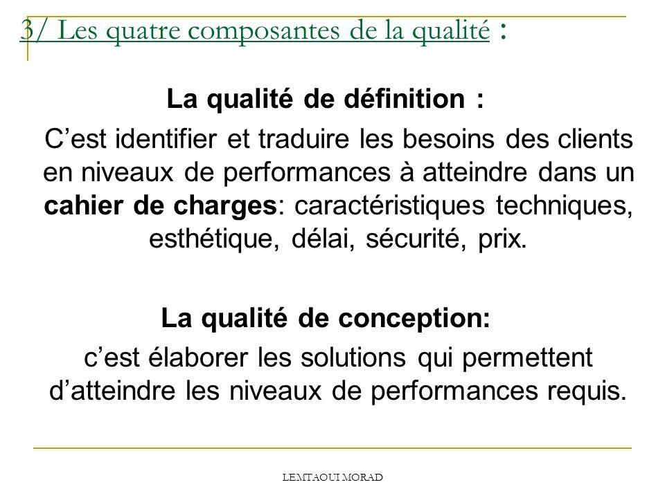 LEMTAOUI MORAD 3/ Les quatre composantes de la qualité : La qualité de définition : Cest identifier et traduire les besoins des clients en niveaux de performances à atteindre dans un cahier de charges: caractéristiques techniques, esthétique, délai, sécurité, prix.