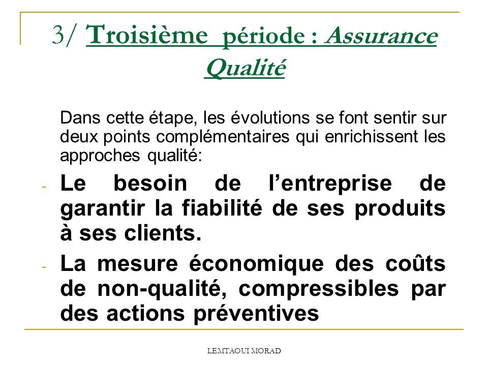 LEMTAOUI MORAD 3/ Troisième période : Assurance Qualité Dans cette étape, les évolutions se font sentir sur deux points complémentaires qui enrichissent les approches qualité: - Le besoin de lentreprise de garantir la fiabilité de ses produits à ses clients.