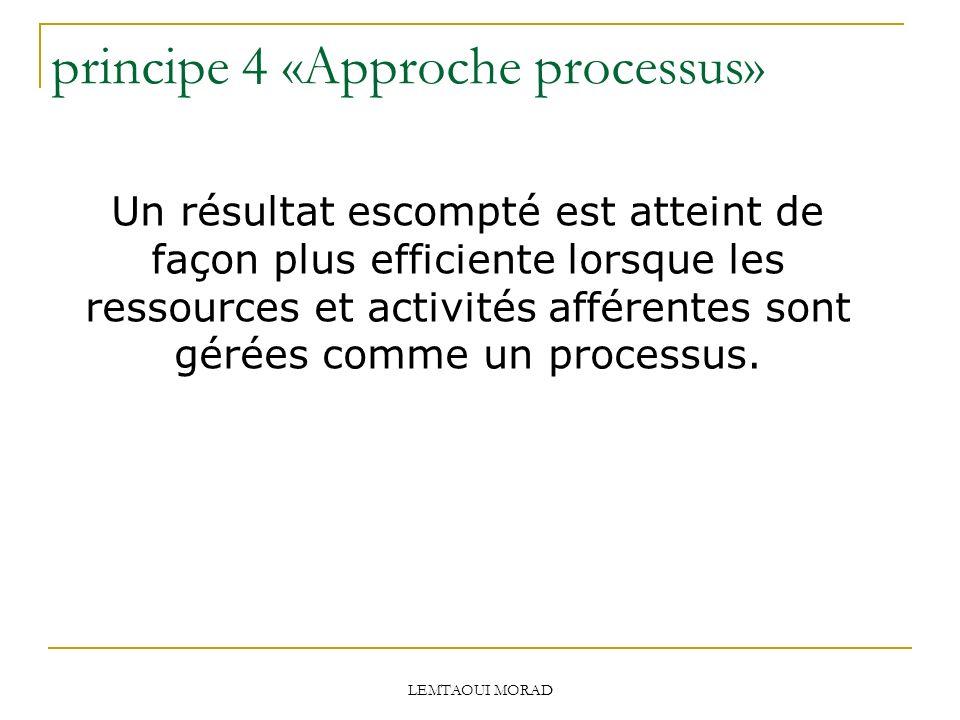 LEMTAOUI MORAD principe 4 «Approche processus» Un résultat escompté est atteint de façon plus efficiente lorsque les ressources et activités afférentes sont gérées comme un processus.