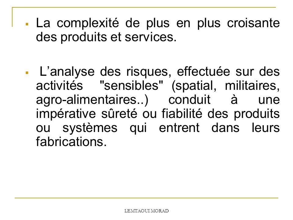 LEMTAOUI MORAD La complexité de plus en plus croisante des produits et services.