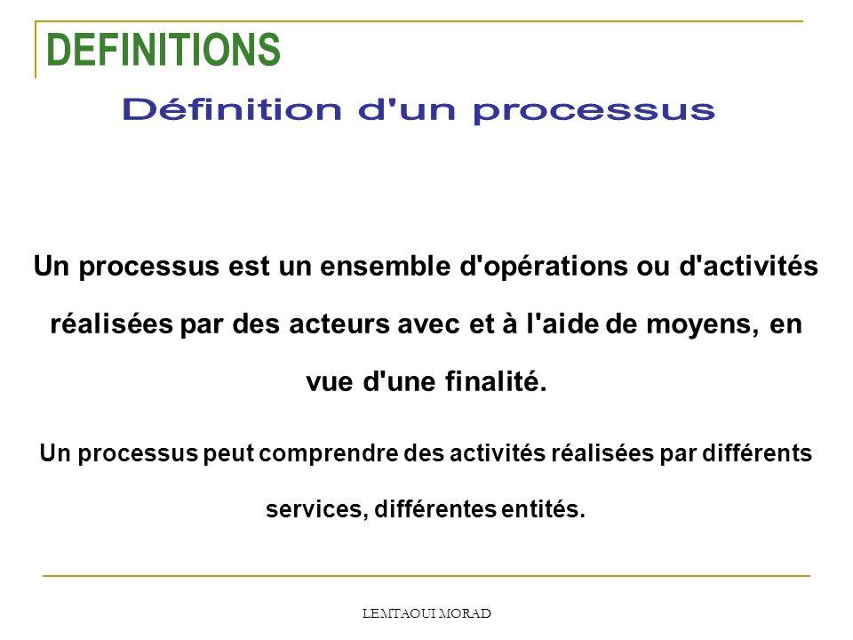 LEMTAOUI MORAD Un processus est un ensemble d opérations ou d activités réalisées par des acteurs avec et à l aide de moyens, en vue d une finalité.