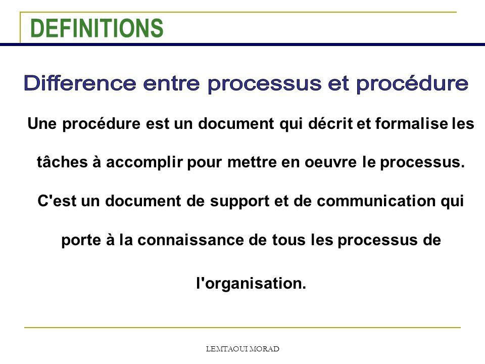 LEMTAOUI MORAD Une procédure est un document qui décrit et formalise les tâches à accomplir pour mettre en oeuvre le processus.