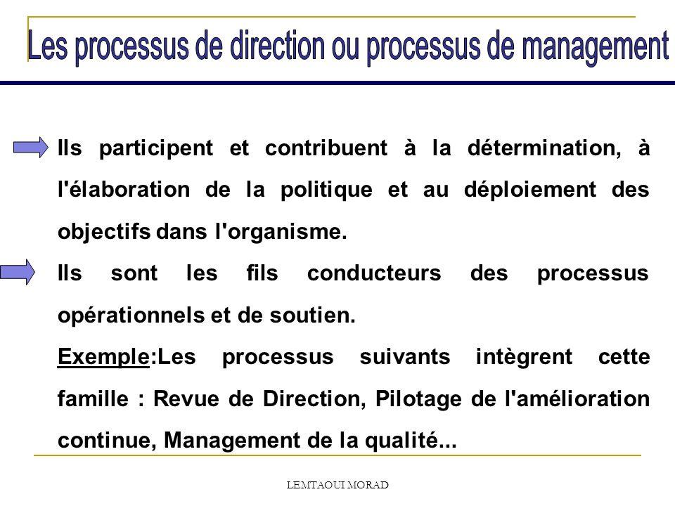 LEMTAOUI MORAD Ils participent et contribuent à la détermination, à l élaboration de la politique et au déploiement des objectifs dans l organisme.