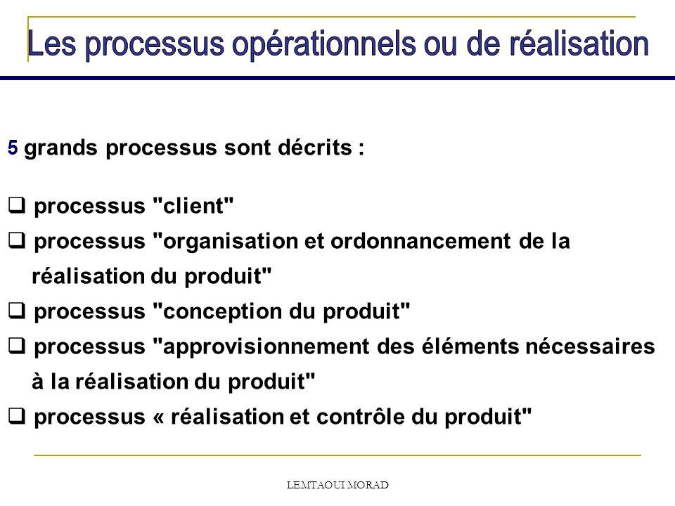LEMTAOUI MORAD 5 grands processus sont décrits : processus client processus organisation et ordonnancement de la réalisation du produit processus conception du produit processus approvisionnement des éléments nécessaires à la réalisation du produit processus « réalisation et contrôle du produit