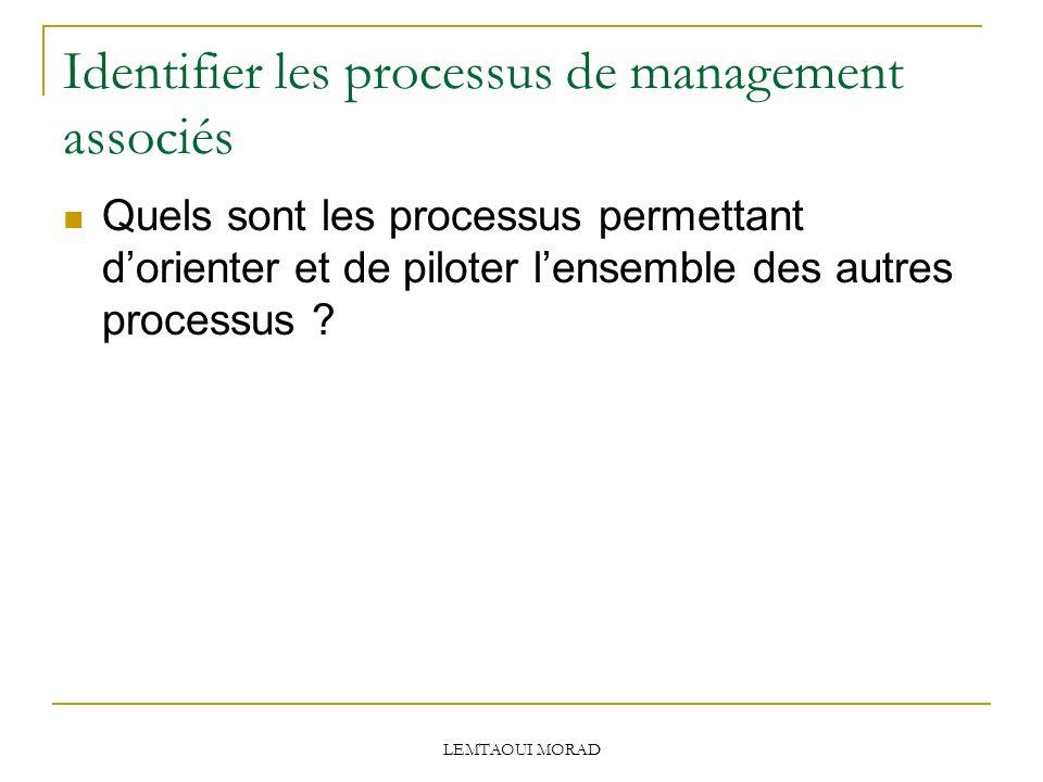 LEMTAOUI MORAD Identifier les processus de management associés Quels sont les processus permettant dorienter et de piloter lensemble des autres processus ?