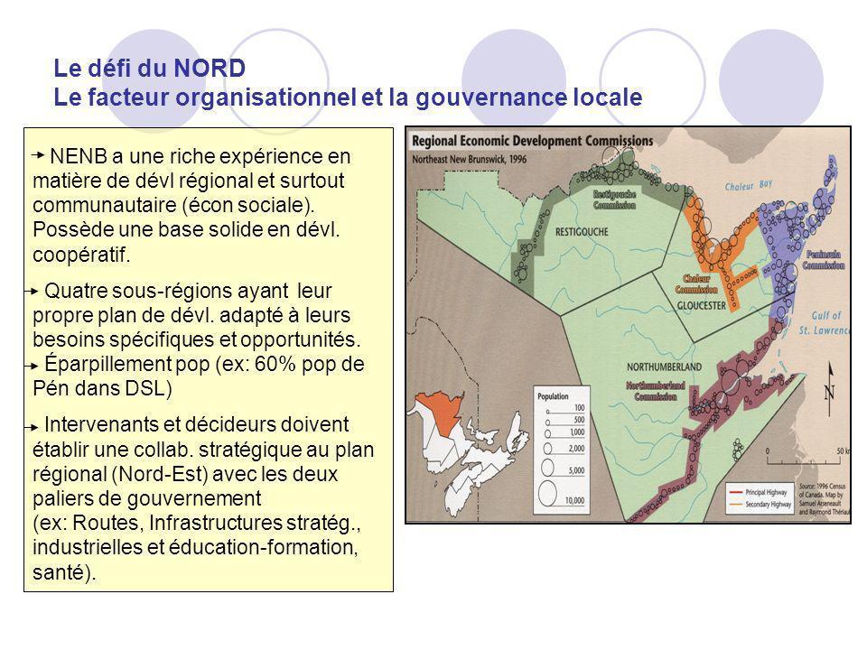 Le défi du NORD Le facteur organisationnel et la gouvernance locale NENB a une riche expérience en matière de dévl régional et surtout communautaire (écon sociale).