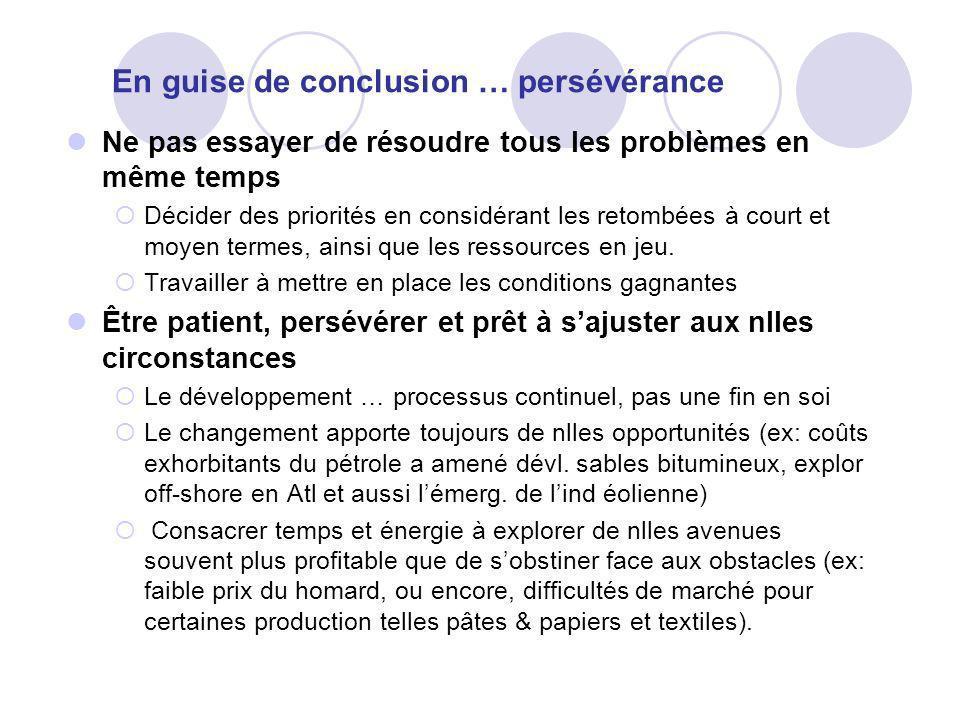 En guise de conclusion … persévérance Ne pas essayer de résoudre tous les problèmes en même temps Décider des priorités en considérant les retombées à court et moyen termes, ainsi que les ressources en jeu.