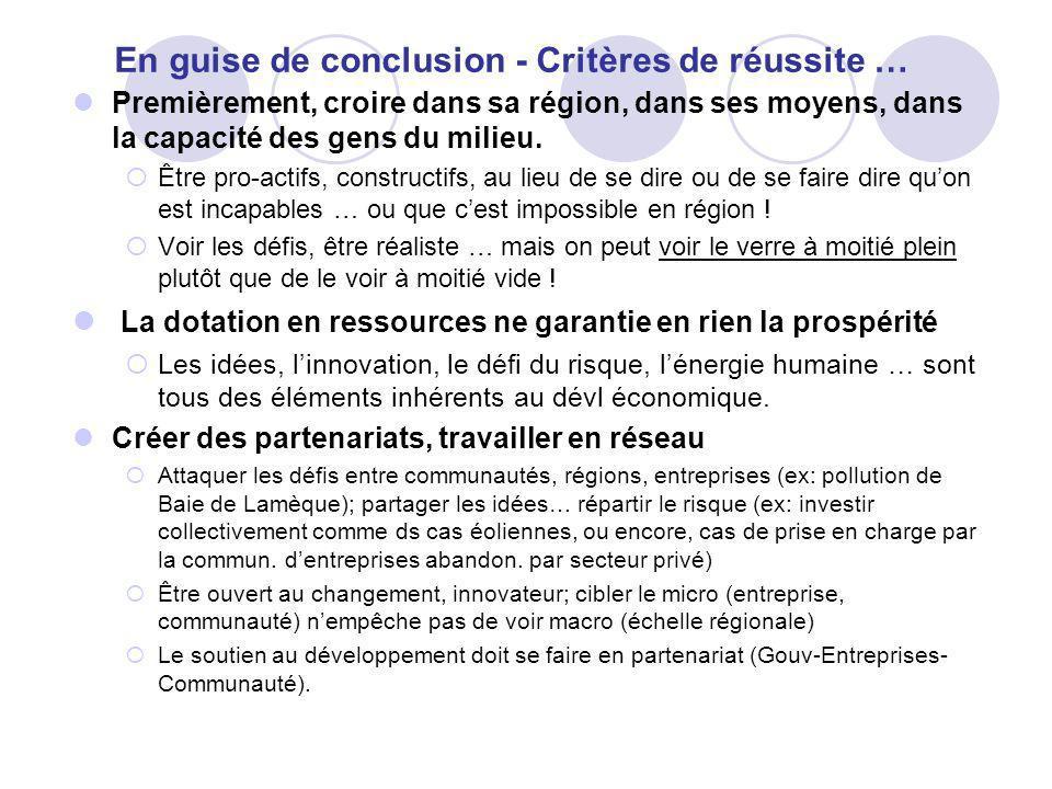 En guise de conclusion - Critères de réussite … Premièrement, croire dans sa région, dans ses moyens, dans la capacité des gens du milieu.