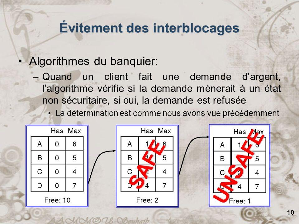 10 SAFE UNSAFE Évitement des interblocages Algorithmes du banquier: –Quand un client fait une demande dargent, lalgorithme vérifie si la demande mèner
