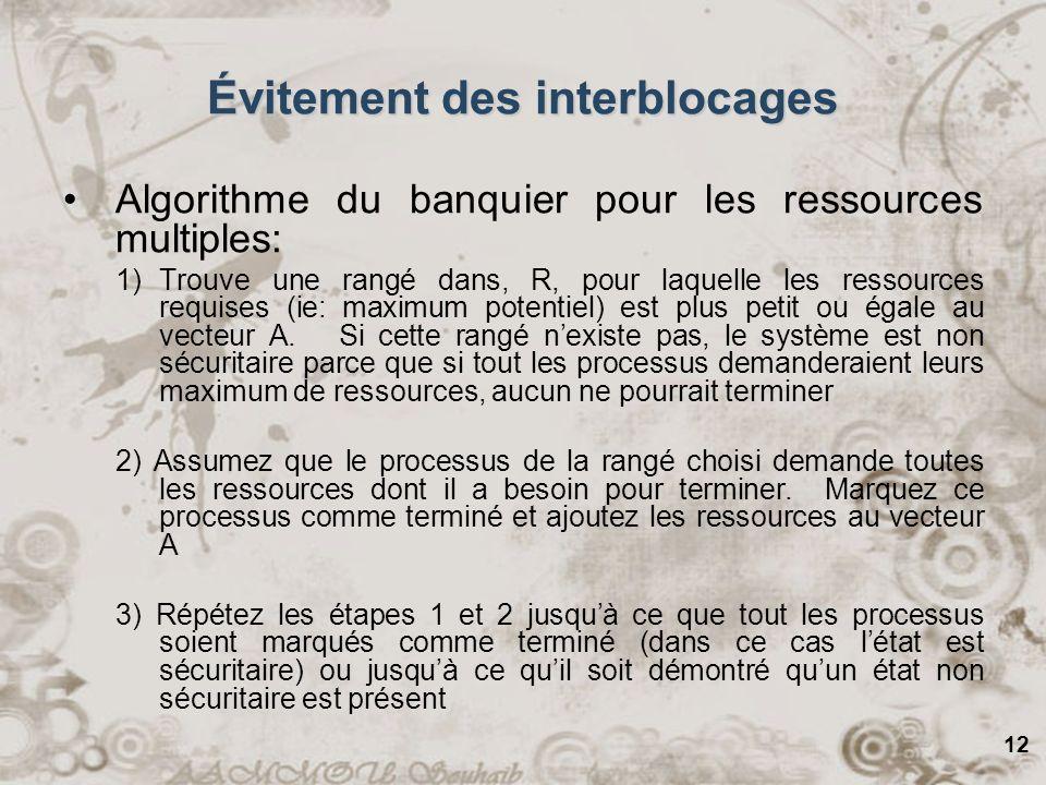 12 Algorithme du banquier pour les ressources multiples: 1)Trouve une rangé dans, R, pour laquelle les ressources requises (ie: maximum potentiel) est