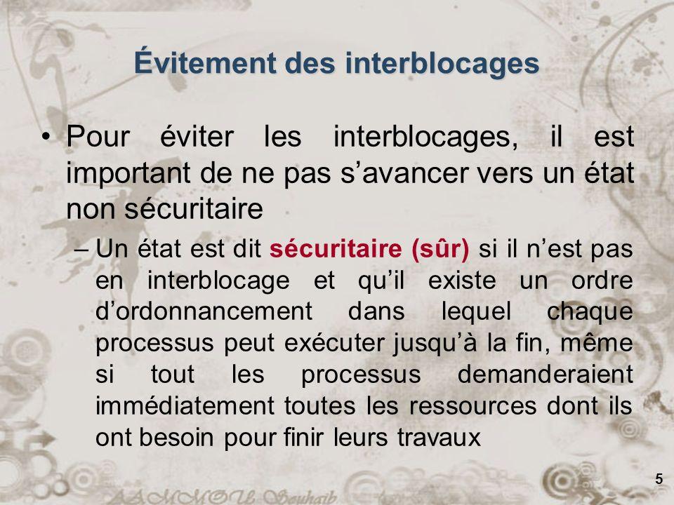 5 Évitement des interblocages Pour éviter les interblocages, il est important de ne pas savancer vers un état non sécuritaire –Un état est dit sécurit