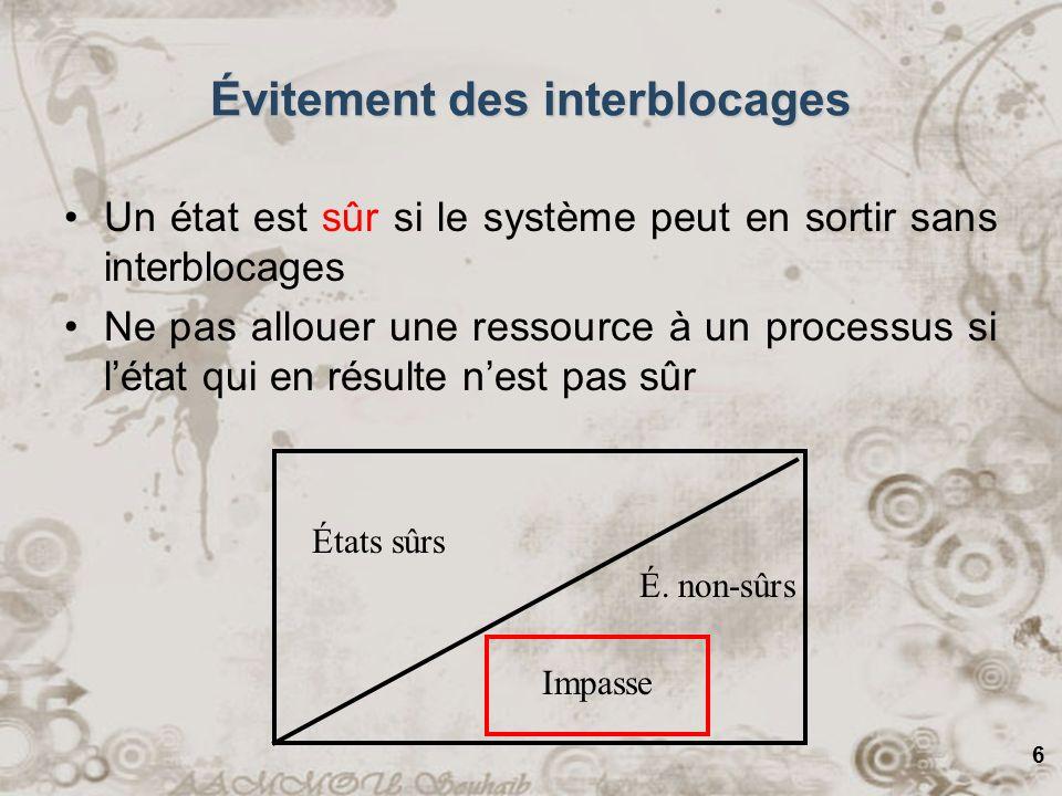 6 Évitement des interblocages Un état est sûr si le système peut en sortir sans interblocages Ne pas allouer une ressource à un processus si létat qui