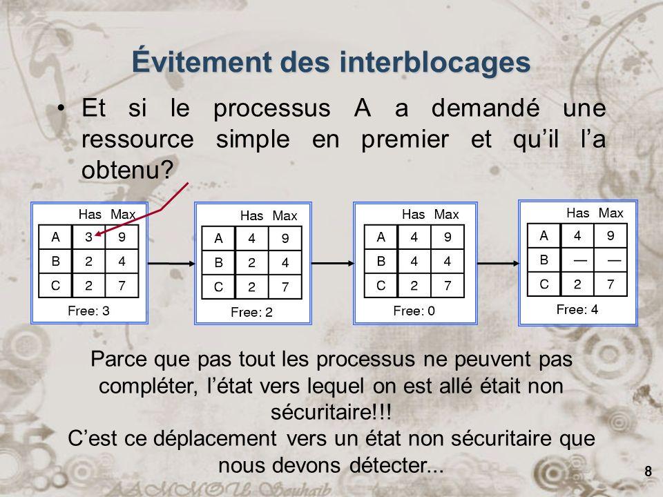 8 Et si le processus A a demandé une ressource simple en premier et quil la obtenu? Parce que pas tout les processus ne peuvent pas compléter, létat v