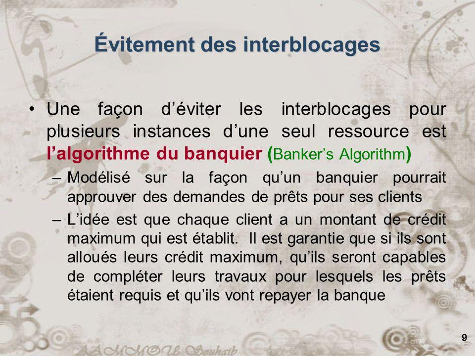 9 Une façon déviter les interblocages pour plusieurs instances dune seul ressource est lalgorithme du banquier ( Bankers Algorithm ) –Modélisé sur la