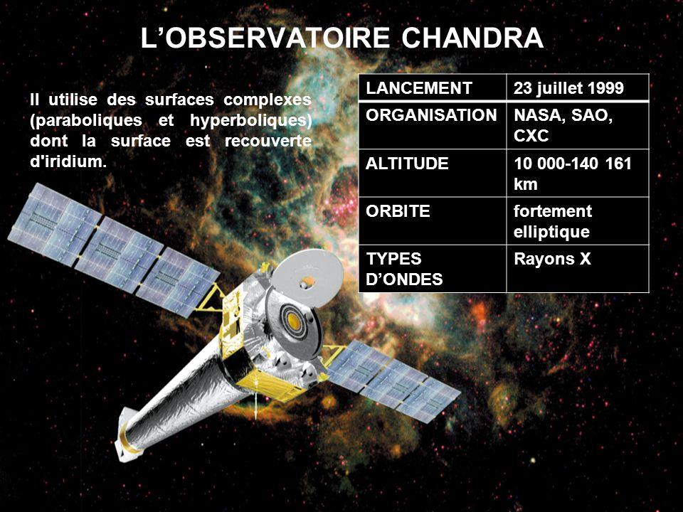 LOBSERVATOIRE CHANDRA LANCEMENT23 juillet 1999 ORGANISATIONNASA, SAO, CXC ALTITUDE10 000-140 161 km ORBITEfortement elliptique TYPES DONDES Rayons X I