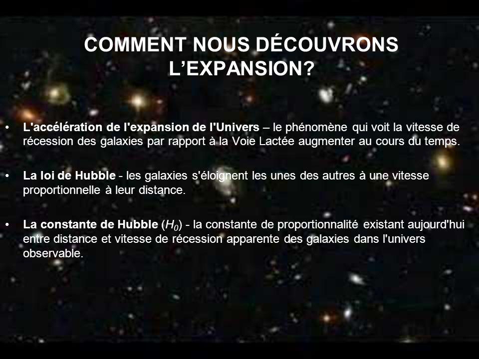 COMMENT NOUS DÉCOUVRONS LEXPANSION? L'accélération de l'expansion de l'Univers – le phénomène qui voit la vitesse de récession des galaxies par rappor