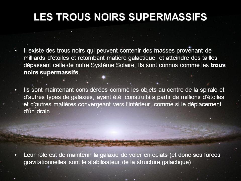 LES TROUS NOIRS SUPERMASSIFS Il existe des trous noirs qui peuvent contenir des masses provenant de milliards détoiles et retombant matière galactique