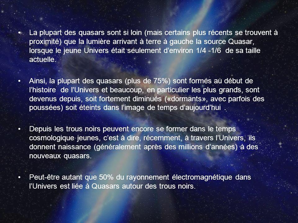 La plupart des quasars sont si loin (mais certains plus récents se trouvent à proximité) que la lumière arrivant à terre à gauche la source Quasar, lo