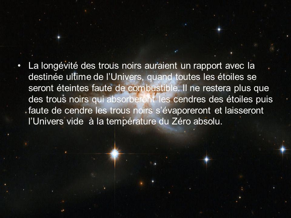 La longévité des trous noirs auraient un rapport avec la destinée ultime de lUnivers, quand toutes les étoiles se seront éteintes faute de combustible