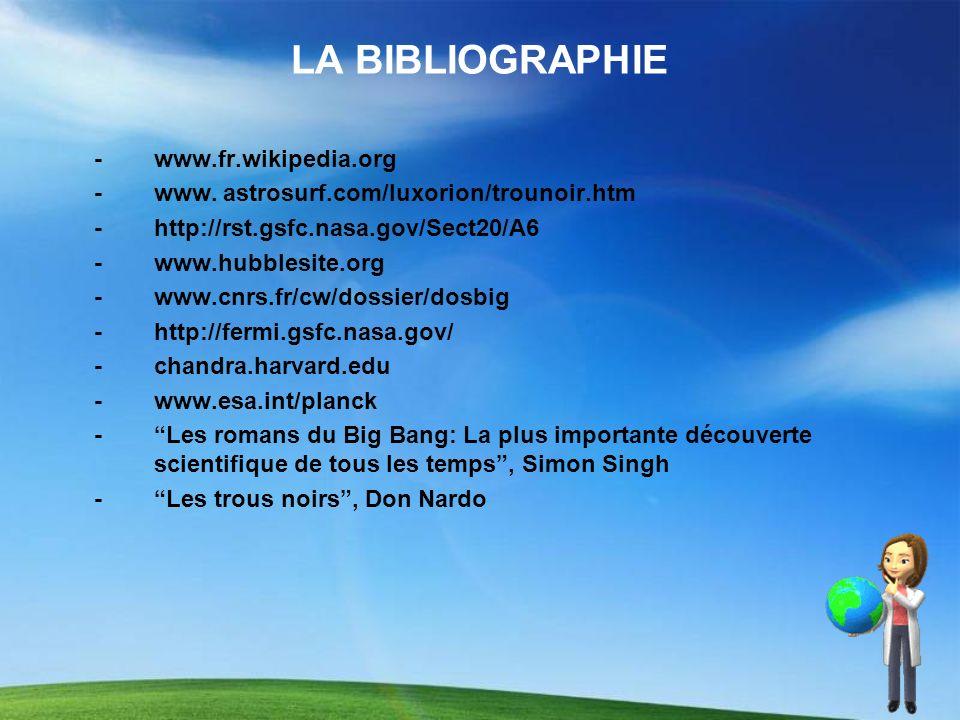 LA BIBLIOGRAPHIE -www.fr.wikipedia.org -www. astrosurf.com/luxorion/trounoir.htm -http://rst.gsfc.nasa.gov/Sect20/A6 -www.hubblesite.org -www.cnrs.fr/
