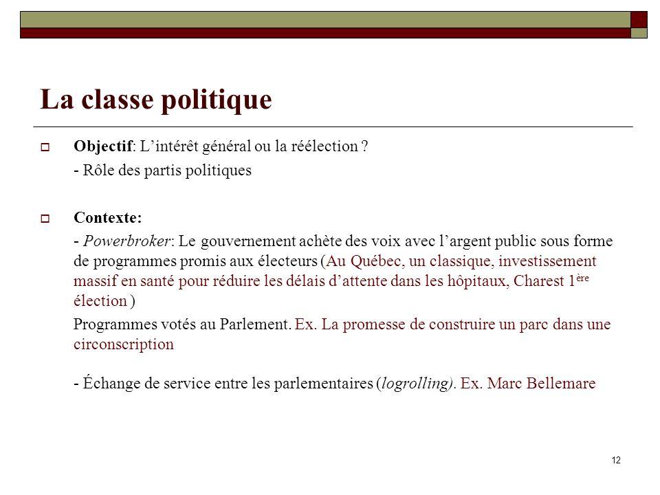 12 La classe politique Objectif: Lintérêt général ou la réélection ? - Rôle des partis politiques Contexte: - Powerbroker: Le gouvernement achète des