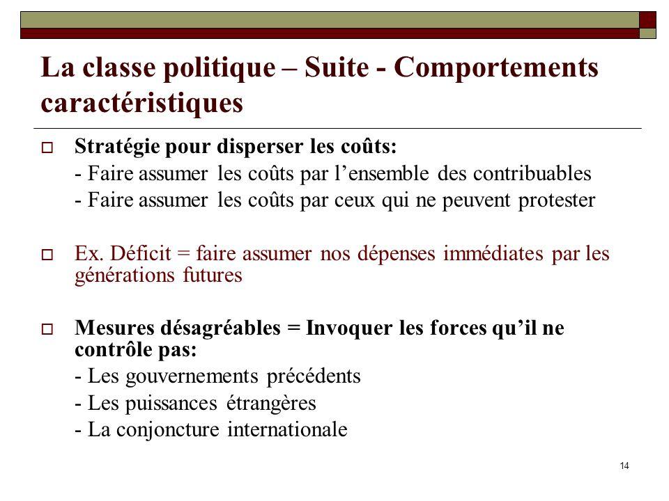 14 La classe politique – Suite - Comportements caractéristiques Stratégie pour disperser les coûts: - Faire assumer les coûts par lensemble des contri